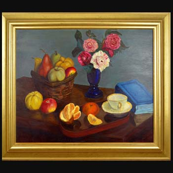 After Fantin-Latour Floral Still Life Oil Painting created by Carol S Sakai