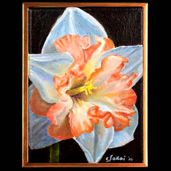 Double Delight-Floral Oil painting of double daffocil created by Carol Sakai